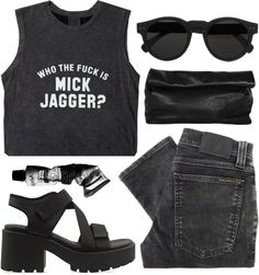 grungy/ concert •muscle tank/ •band tee/ •printed tee •black jeans •black wedge sandals •black circle sunglasses •black clutch bag