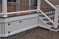 Deck skirting can be an attractive feature that can be added to any low level deck. Skirting For Decks, House Skirting, Railings For Decks, Deck Spindles, Shed Skirting Ideas, Rebar Railing, Railing Planters, Banisters, Backyard Decks