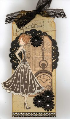 prima doll tags - Google Search-Like the black doily and clock
