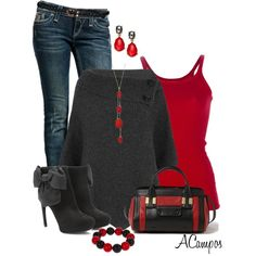"""Black & Red"" by anna-campos on Polyvore"