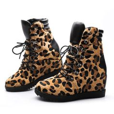 Leopard Print Hidden Wedge Sneaker High Top Shoes Ankle Boots