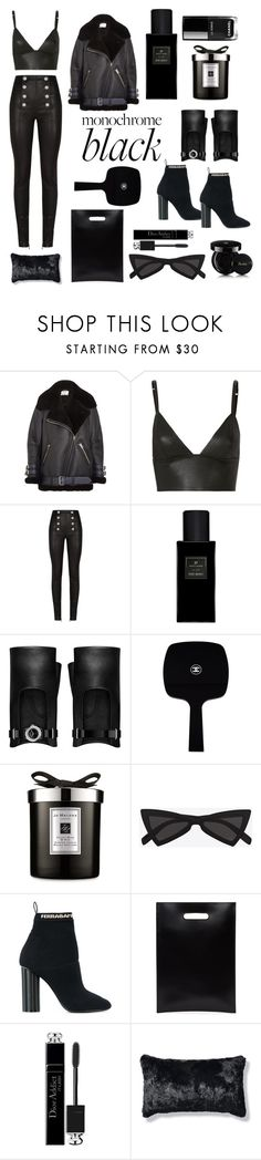"""""""Monochrome Black"""" by sapphirefrost ❤ liked on Polyvore featuring Acne Studios, T By Alexander Wang, Balmain, Yves Saint Laurent, Chanel, Jo Malone, Salvatore Ferragamo, MM6 Maison Margiela, Christian Dior and Frontgate"""