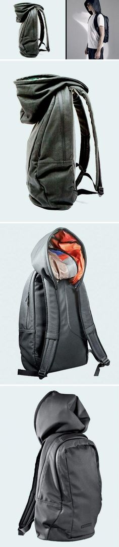 The hooded backpack Hussein Chalayan designed a backpack it self with a hat, snow can block the wind and rain when needed internal has enough space to place their own laptop, tablet or books.