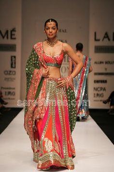 Model and Bollywood actress Mugdha Godse showcasing Shyamal and Bhumika's Creation.