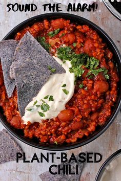 5 alarm plant-based chili is the rich, spicy hot, flavorful, and healthy chili 'non-Carne' that warms you up inside and out. #anothermusicinadifferentkitchen #veganchili #5alarm Healthy Chili, Vegan Chili, Cooking For Beginners, Recipes For Beginners, Chili Recipes, Vegan Recipes, Free Recipes, Plant Based Recipes, Clean Eating Recipes