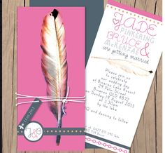 graphic feather wedding invitation - lilykiss