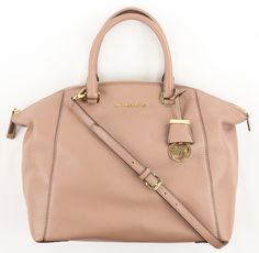 Michael Kors Women's Dusty Rose Pink Leather Riley Large Satchel Purse