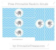 Free Baby Blue Chevron  Elephant Napkin Rings