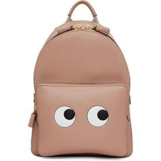 Anya Hindmarch Pink Mini Eyes Right Backpack (3.098.020 COP) ❤ liked on Polyvore featuring bags, backpacks, backpack, accessories, torbe, pink, pink leather backpack, miniature backpack, mini rucksack and logo backpacks