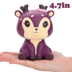 R • HORSE Cute Purple Deer Kawaii Cream Scented Squishies Slow Rising Decompression Squeeze Toys for Kids or Stress Relief Toy Hop Props, Decorative Props Large (Purple Deer)