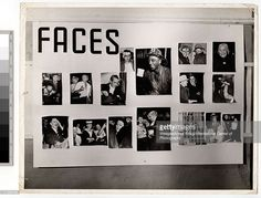 View of a wall-mounted collage titled 'Faces' at Weegee's one man exhibition, 'Murder is My Business: 2nd Edition,' held at the New York Photo League, New York, New York, late 1941. (Photo by Weegee (Arthur Fellig) / International Center of Photography / Getty Images)