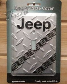 Jeep tire track LIGHT SWITCH PLATE COVER metal garage bar home wall decor gift