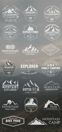 20 adventure badges and logos from Jekson Graphics on the Creative Market - outdoor adventure Design Kaos, Graphisches Design, Badge Design, Logo Inspiration, Travel Inspiration, Outdoor Logos, Badges, Badge Logo, Design Poster