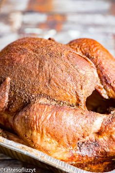 Free up the oven and smoked a turkey on the grill! Everything you need to know about smoking a turkey plus a savory smoked turkey rub recipe. Rub Recipes, Grilling Recipes, Cooking Recipes, Smoker Recipes, Crockpot Recipes, Rosemary Turkey Recipe, Smoked Turkey Rub, Turkey Seasoning, Grilled Turkey