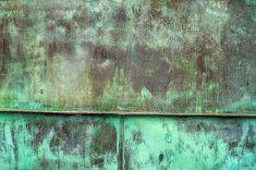 Oxidado verde textura de fondo de placa de cobre stock photo