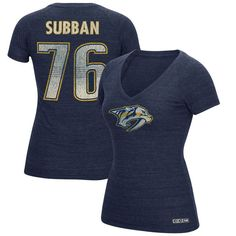 b3729d024 PK Subban Nashville Predators CCM Women s Name   Number V-Neck T-Shirt -  Navy