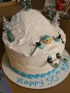 Cake for a Skier Cake Decorations, Cooking Recipes, Cakes, Winter, Desserts, Food, Kuchen, Winter Time, Tailgate Desserts