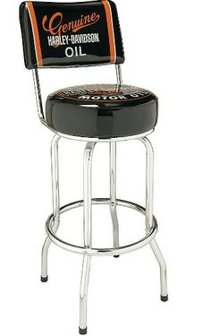 Harley-DavidsonOil Can Bar Stool with Back