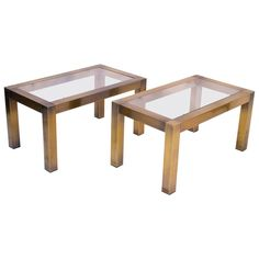 Pair of Patinated Brass Side Tables with Glass Top   1stdibs.com