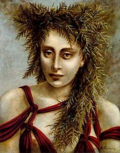 Deirdre, 1940 by Dorothea Tanning. Max Ernst, Peggy Guggenheim, Freida Kahlo, Dorothea Tanning, Three Witches, Atelier D Art, Triple Goddess, Magritte, American Artists