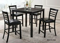 """5 pc Brea collection espresso finish wood counter height table set with slat back chairs and vinyl seats. This set includes the table with legs and 4 side chairs upholstered with vinyl seats and slat backs. Table measures 36"""" x 36"""" X 36"""" H. Chairs measure 42"""" H to the back. Some assembly required."""
