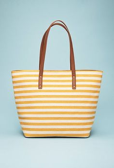 Striped Faux Leather-Trimmed Tote | Forever 21 - 1000077376