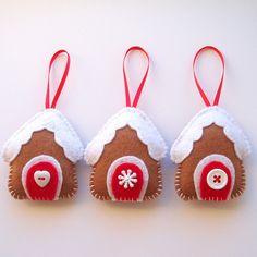 Trio of Felt Gingerbread Houses