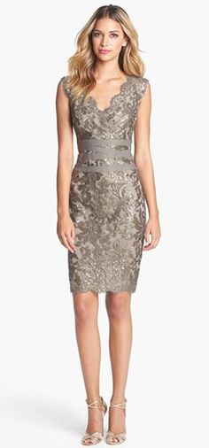 Stylish party dress with matching high heels - Tadashi Shoji Embellished Metallic Lace Sheath Dress- at Nordstrom Supernatural Style Women's Dresses, Pretty Dresses, Evening Dresses, Dresses 2016, Formal Dresses, Fashion Mode, Look Fashion, Womens Fashion, Dress Fashion