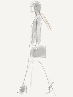 Binder clutch and ankle warmers at Alexander Wang  [Sketch by Danielle Meder]
