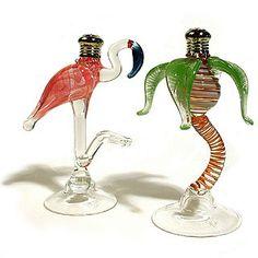Palm and Flamingo Glass Salt & Pepper Shakers
