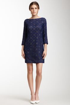 Catherine Malandrino Embroidered 3/4 Length Sleeve Dress: Love this Navy Dress