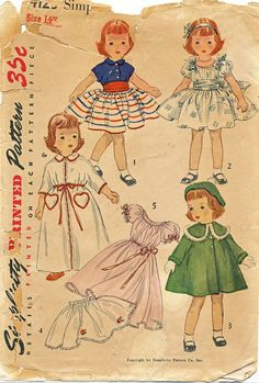 Toni Doll Clothes Pattern Simplicity 4128 Vintage 1952 Size 14 Inch