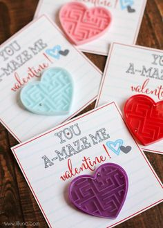 20 of the most fun Valentines cards for kids! Tons of cute printable and DIY ideas that would be perfect for kids in preschool or grade school! Great ideas for Valentine's Day party favors too! Kinder Valentines, Little Valentine, Saint Valentine, Valentines Day Party, Valentine Day Crafts, Valentine Ideas, Valentinstag Party, Valentine's Cards For Kids, Valentines Day Decorations