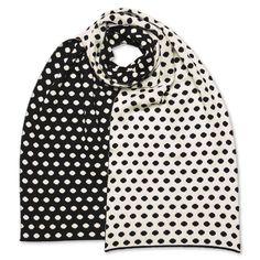 Schal breit Polkadots, schwarz/weiß