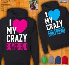 Couples Hoodies I Love My Crazy Boyfriend / Girlfriend by 77Teez