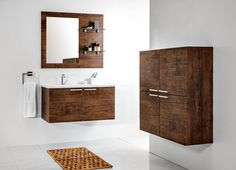 Modular KTS bathroom furniture collection with wood pattern / łazienka #bathroom #furniture #washbasin #wood