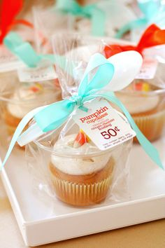 Put your cupcakes in smaller clear cups, when participating in a bake sale or what to do something nice for the neighbors. Brilliant Idea!