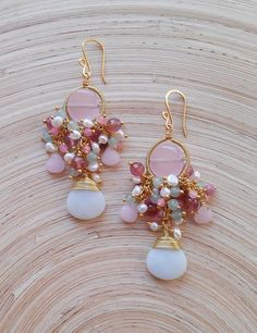 Aurore gemstone cluster earrings pink green chandelier dangle