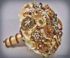 Empress Crystal Hydrangea Bouquet in Gold by Blue Petyl