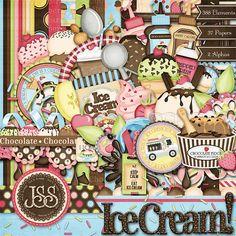 Ice Cream Digital Scrapbook Kit - Digital Scrapbooking