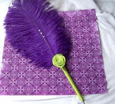 Feather Pen  Purple and Green Rosette Style  Custom by itsmyday, $16.00
