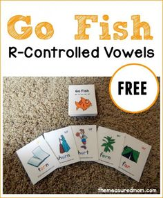 Looking for a way to help your reader practice those tricky r-controlled vowels? Print this free game of Go Fish! R Controlled Vowels Activities, Articulation Activities, Phonics Activities, Speech Therapy Activities, Reading Activities, Teaching Reading, Reading Practice, Guided Reading, Reading Mastery