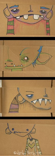 Drawings on cardboard box by Daniel Torrente to transport Jill Penney's Troglodytes and other artwork.