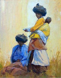 Titta Fasciotti Xhosa Women Oil on Canvas Pasted on Board Xhosa, Pop Art Wallpaper, African Theme, African Children, South African Artists, African Dresses For Women, Old Master, Tribal Art, Black Art