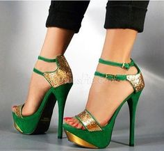 Gorgeous Green & Golden Contrast Color High Heel Sandals with Double Ankle Strap From the Plus Size Fashion Community at www.VintageandCurvy.com