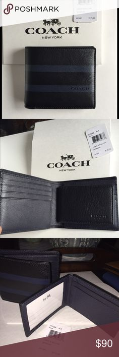 COACH MEN WALLET SOLD100% AUTENTIC COACH WALLET, BRAND NEW WITH BOX, black and Blue color, Coach Bags Wallets