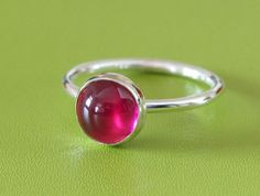 Round Red Ruby Ring - Sterling Silver Gemstone - Size 2 to 15 on Etsy, $21.33 CAD