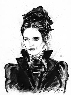 Miss Vanessa Ives (Eva Green), from Penny DreadfulIndian ink and. Triquetra, Penny Terrible, Caricatures, Penny Dreadfull, Miss Peregrine's Peculiar Children, Goth Art, Portraits, Sketch Inspiration, Comic