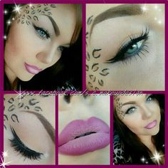 Fun leopard makeup today :) using @limecrimemakeup uniliner in quill #Mac blacktrack for liner and leopard spots a nameless neutral palette I got a while back at imats for my eye shadow and lips are lined with hot topic hot pink lipliner and  brushed #sauceboxcosmetics oh lala shadow over it then a white liner to give a ombre look to it :) hope everyone is enjoying their sunday!! Xo♥