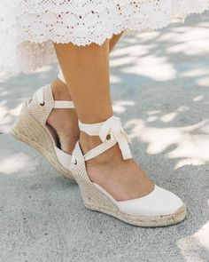 Change tight heels to comfortable espadrilles on hot days. And learn what to wear with espadrilles. This is the best shoes for summer! Lace Up Wedges, Lace Up Heels, Strap Heels, Strap Sandals, Wedge Sandals, Wedge Shoes, Women's Shoes, Sandal Wedges, Shoes Style